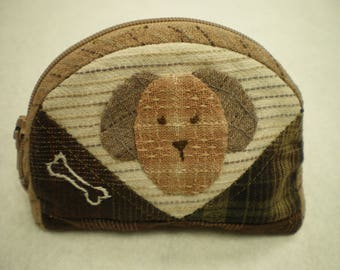 wallet asymmetrical, decorated with a dog's head