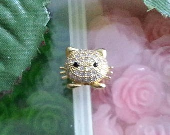 1 brass micro pave cubic zirconia beads, cat, gold, 11 x 14 x 6 mm, hole: 1 mm
