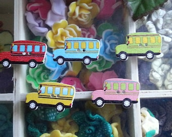 5 buttons school bus print 2 hole sewing buttons wooden, multicolored, 18 x 30 x 2 mm, hole: 2 mm