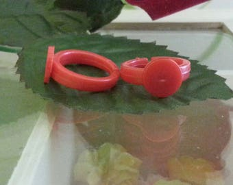 10 blank rings children acrylic colored rings, 14 mm tray: 9 mm