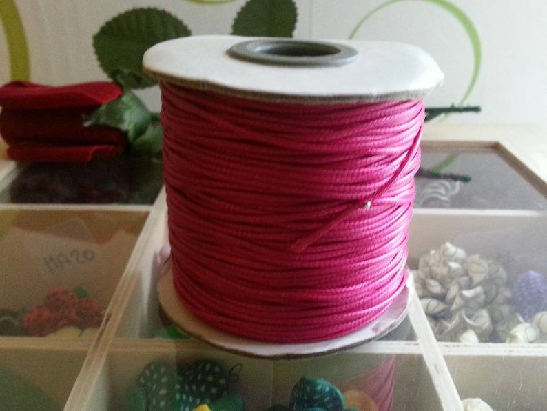 561981490906 1 metro de Corea encerado cordón, cuerda de poliéster, mediumvioletred, 1 mm