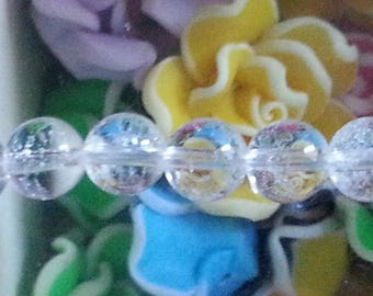 1 8 mm in diameter, hole 1 mm rock crystal beads