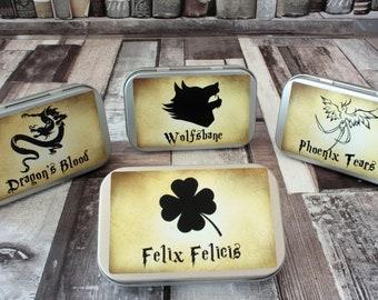 Harry Potter Inspired Teas - Mini Tins - Magic Gift - Fantasy Gift - Tea Potions - Felix Felicis - Wolfsbane - Phoenix Tears - Dragons Blood