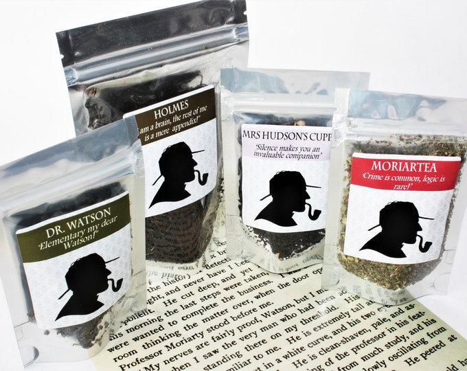 Featured listing image: Sherlock Tea Collection - Literary Tea Collection - Tea Gift - Literary Tea Gift - Bookish Gift - Author Gift- Loose Leaf Tea - Tea