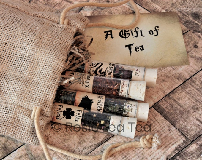 Featured listing image: Tea Potions - Harry Potter Inspired Tea - Magic Gift - Halloween - Felix Felicis - Wolfsbane - Phoenix Tears - Dragons Blood