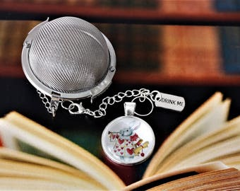 Alice In Wonderland Knave Inspired Tea Infuser With Glass Cabochon  - Tea Ball - Lewis Carroll - Tea Infuser - Bookish Gift - Literary Gift