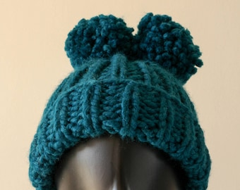 Chunky Knit Hat with Two PomPoms