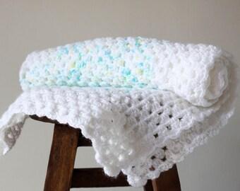 White, Aqua and Lime Crochet Blanket