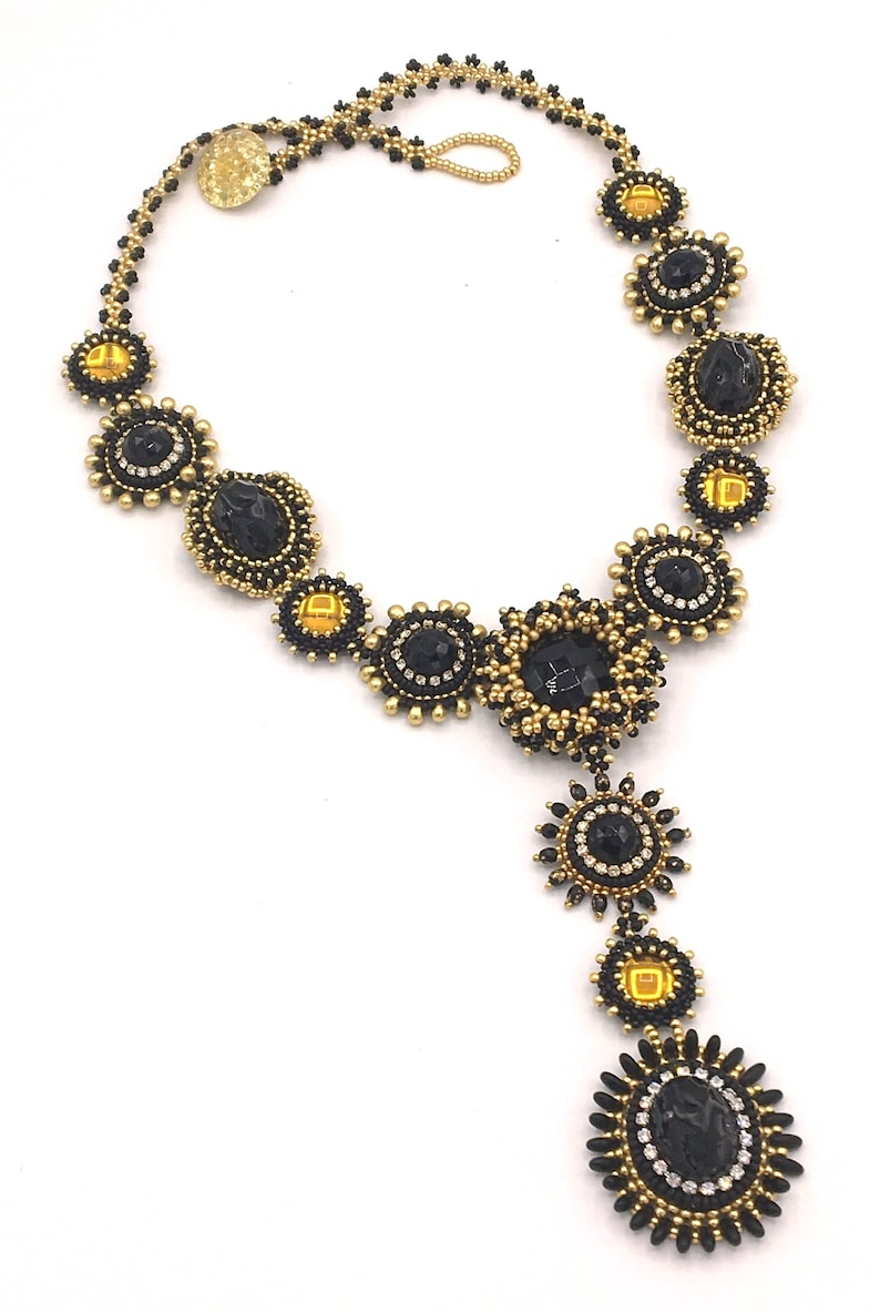 Bezel Mania Necklace is a peyote bead embroidery and RAW image 0