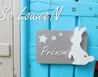 Child's bedroom door plaque / baby / rabbit, Star, personalized with a name plate Taupe, red heart wood, white rabbit.