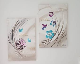 Diptych painting Tropical - trendy and modern Hummingbird hibiscus butterflies purple turquoise gold 80 x 73 cm