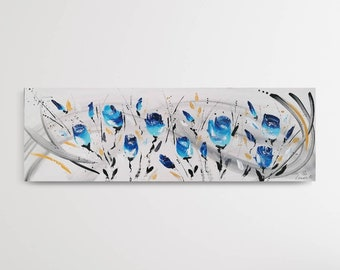 Painting CONTEMPORARY FLOWERS abstract blue 30x90cm