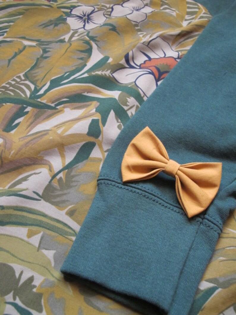 Bottle green Granny floral blouse sweater brooch mustard bowtie