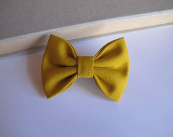 "hair bow ""clip - me"" mustard yellow"