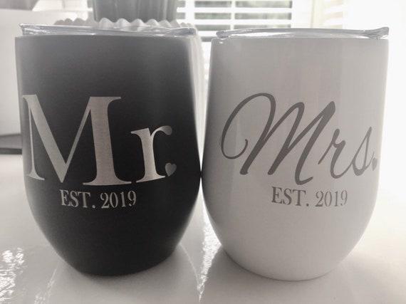 Personalised wedding wine tumbler engraved tumbler wine insulated tumbler stainless stemless Mr & Mrs wine tumbler bridesmaid gifts tumbler