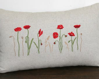 Embroidered poppies rectangle 30 x 50 cm cushion. Original creation