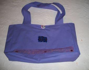 beach bag purple with pearls and rhinestones