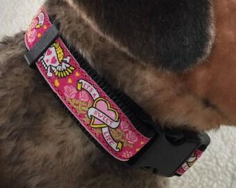 Skulls N' Roses Dog Collar