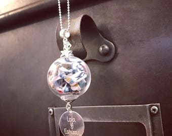 Necklace / Sautoir GLOBE Liberty * custom Creation * with engraving