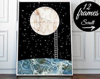 Moon Poster, Space Poster Scandinavian Nursery Moon Art, Night Sky Print, Astronomy Wall Art, Black Marble Poster Large Framed Wall Art