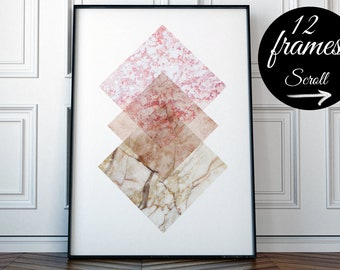 Pink Abstract Art Print For Office, Marble Wall Print, Modern Wall Art For Living Room, Minimalist Print Framed