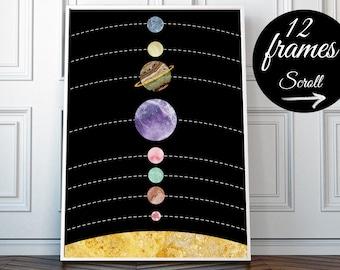 Kids Space Art, Astronomy Posters, Galaxy Wall Art, Marble Wall Artwork, Nursery Large Wall Art Print Framed