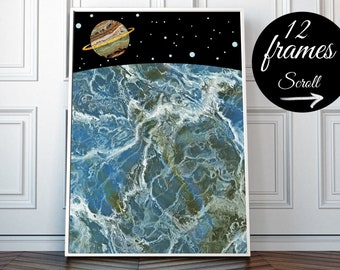 Astronomy Art, Space Art Print, Marble Wall Art Large Modern Wall Art, Saturn Planet Decor, Contemporary Wall Art Framed