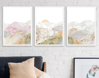 10% Save Mountain 3 Piece Wall Art Large Framed Wall Art Set Of 3 Mountain Decor Large Office Wall Art Nature Decor Marble Print & 3 piece wall art | Etsy
