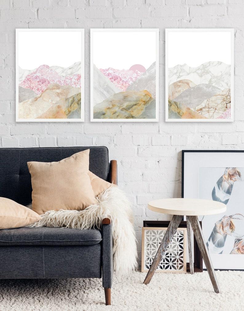 Sparen Sie 10 % gerahmte Bild Wand Kunst Set für Wohnzimmer | Etsy
