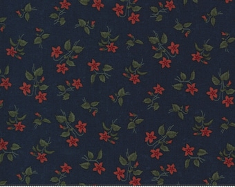 Prairie Dreams - Kansas Trouble - Blossoms Florals - Navy - 9652-14 - Fabric is sold in 1/2 yard increments and cut continuously
