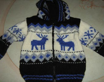 Hooded jacket for boys, waistcoat with jacquard, size 2 years, knitted by hand, closed by zip, black ecru blue, all seasons, reindeer