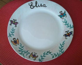 """child's plate """"Butterfly"""" with name"""