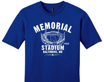 Memorial Stadium 1953 Football Tee Shirt - Past Home of Your Baltimore Colts