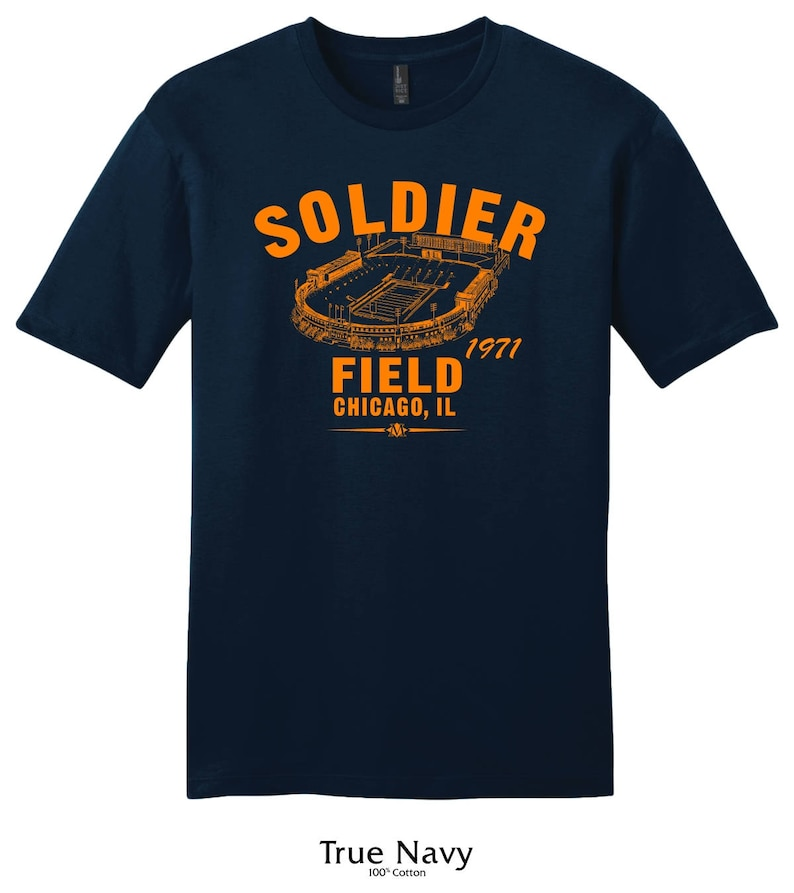 Soldier Field 1971 football tee shirt-passé Home of the Chicago Bears