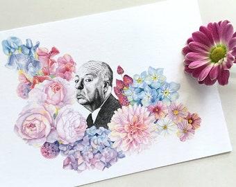 Alfred Hitchcock portrait art card, Hitchcock postcard, Film Director postcard, Famous Movie Director, Movie lover gift, Hitchcock gift