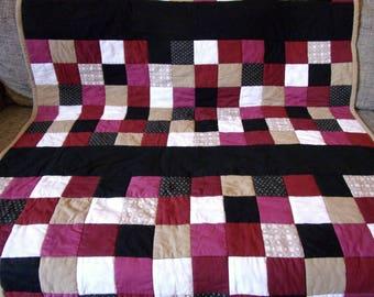 Plaid graphic patchwork cotton Burgundy, black, taupe