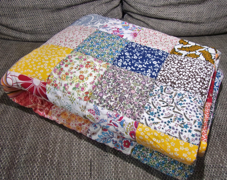 Couverture patchwork bohème tons chauds 178x120 - couette patchwork multicolore bohème