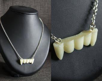 Vampire teeth necklace resin