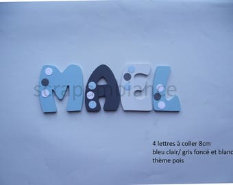 wood letter name / wood letter / door / name to stick / wooden name / letter stick / letter decorative dots THEME