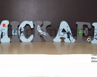 name wood, large letter, decorative letter wooden name to ask, letter for personalized FOOTBALL