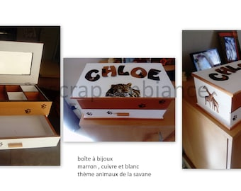 personalized wooden jewelry box with mirror and drawer 11.02x6.69 inches with name: brown, copper and white savanna animal theme