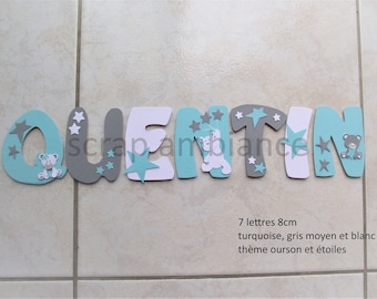 wood letter name, door plaque, decorative letter, decorative name, theme Teddy bear and Star