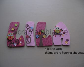 name to stick / wooden name / door / letter to paste / letter decorative owls THEME