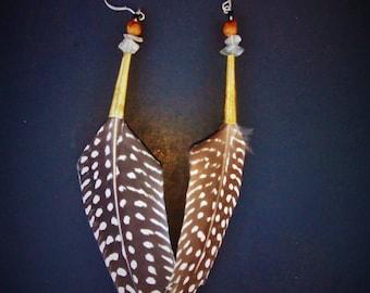 Deena GUINEA feather earrings