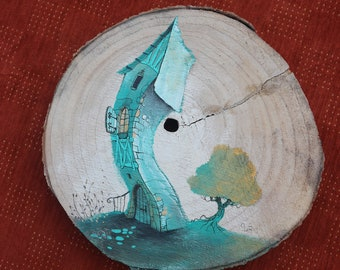 Single coaster. Log of wood painted painting of a tree house.