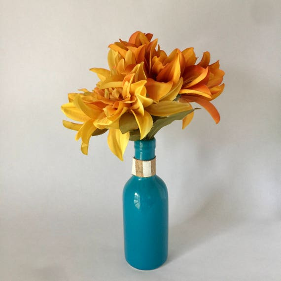 Fall Floral Aquamarine Bud Vase With Fall Chrysanthemums Etsy