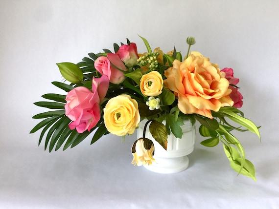 Tropical vibes artificial flower arrangement faux floral etsy image 0 mightylinksfo