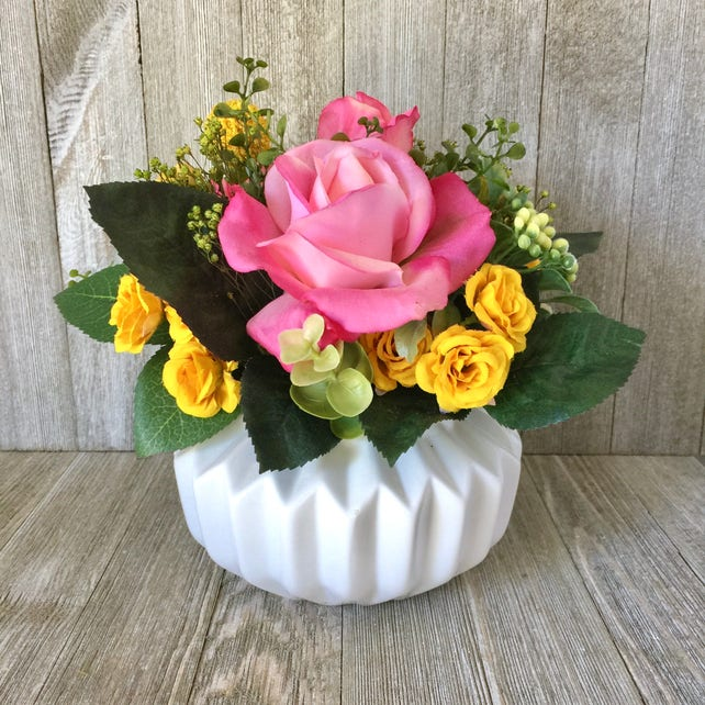 Silk flower arrangement faux floral real touch hot pink rose etsy image 0 mightylinksfo