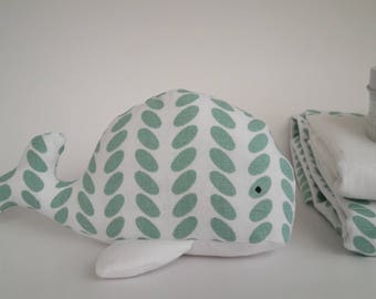 Toy whale green and white Scandinavian
