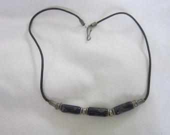 70's Retro Art Glass & Leather Choker Necklace